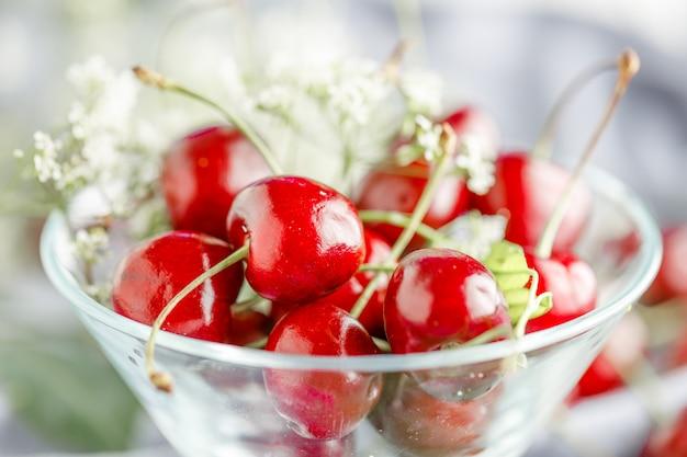 Frutos vermelhos maduros e pretos maduros de seu próprio jardim