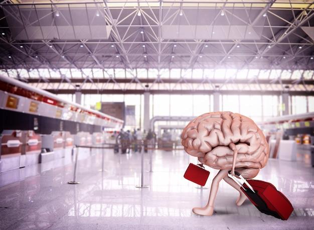 Fuga do cérebro com bagagem no aeroporto