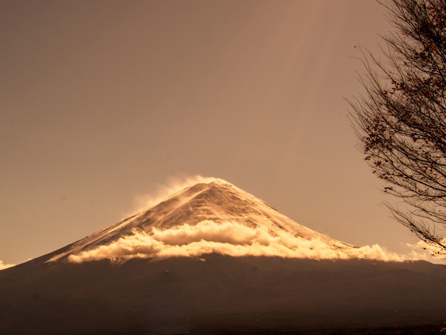 Fuji, montanha, céu, outono, kawaguchiko, lago, japão