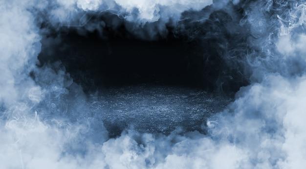 Fumaça de moldura em fundo preto