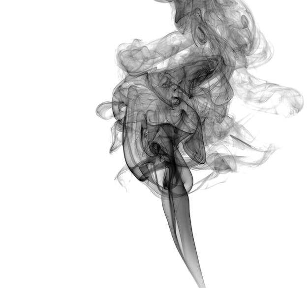 Fumaça escura abstrata sobre um fundo claro