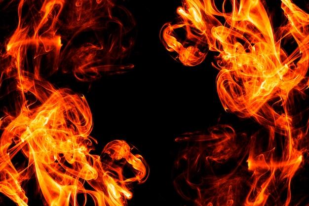 Fumo de fogo abstrato no fundo preto