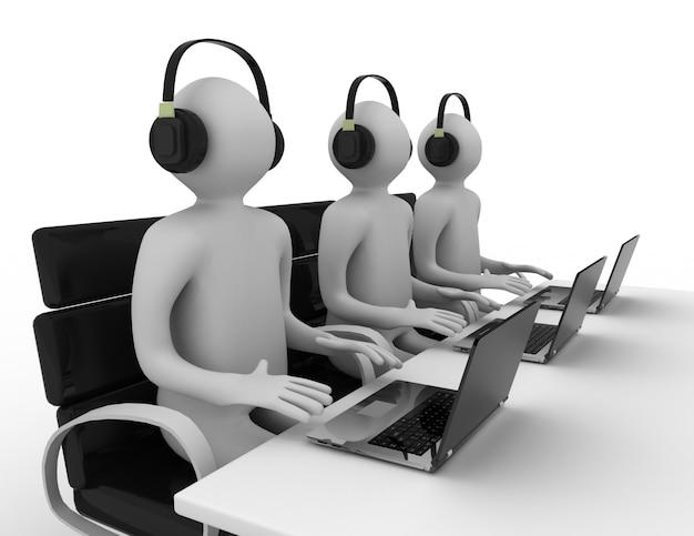 Funcionários que trabalham em um call center