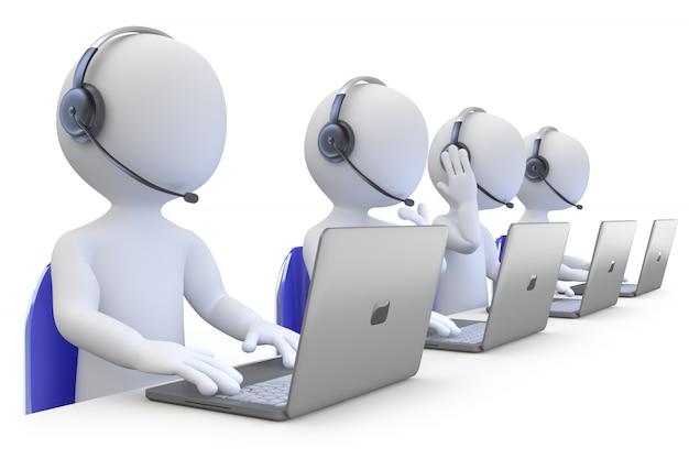 Funcionários que trabalham em uma vista frontal do call center