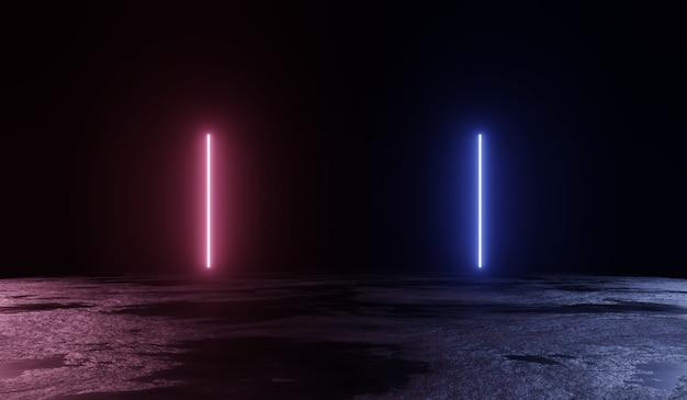 Fundo 3d abstrato com duas luzes de néon. ilustração 3d.