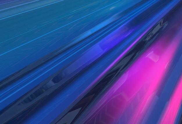 Fundo 3d abstrato do fluxo das ondas azuis e violetas