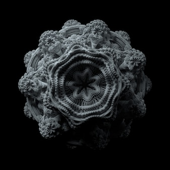 Fundo 3d abstrato. fractal de mandelbrot no espaço 3d com muitos detalhes. forma complexa. perfeito para apresentações científicas ou de tecnologia, slides.