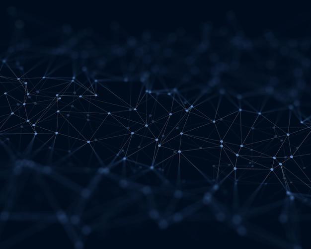 Fundo 3d com linhas e pontos de conexão