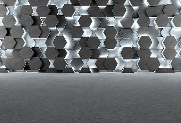 Fundo 3d com piso cinza e hexágonos de concreto iluminados na parede