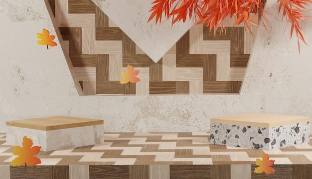 Fundo 3d com pódio em mármore e tema de outono folhas de outono laranja