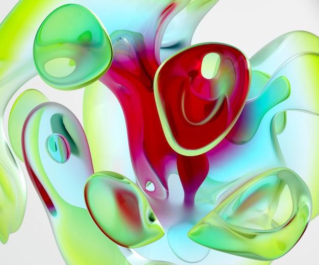 Fundo 3d da arte abstrata com parte da escultura de vidro em curva orgânica