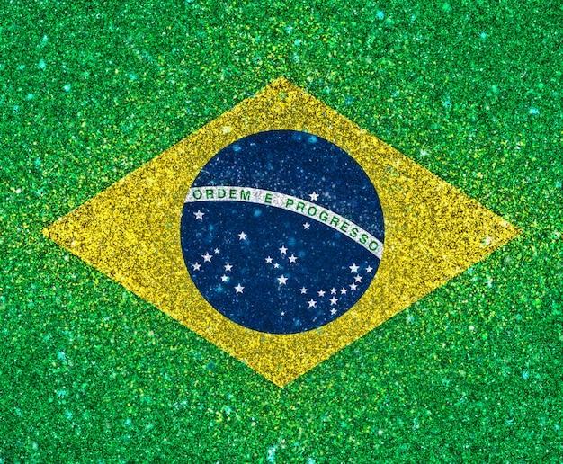 Fundo 3d da bandeira de brasil com efeito de glitter