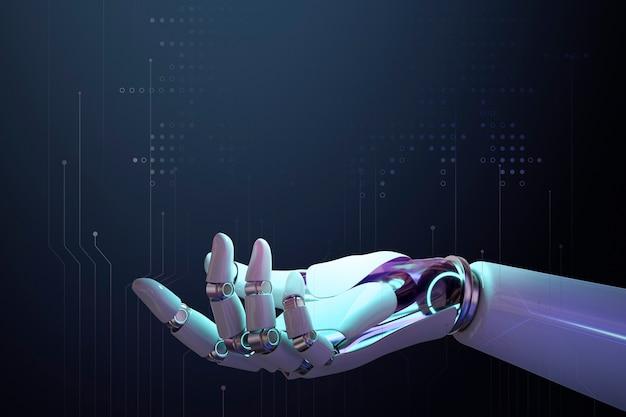 Fundo 3d da mão do robô, vista lateral da tecnologia ai