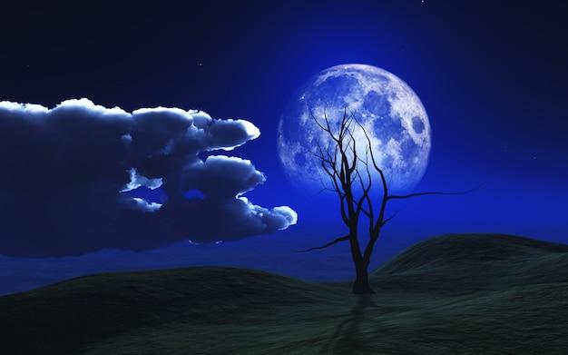 Fundo 3d de halloween com árvore assustador contra um céu ao luar