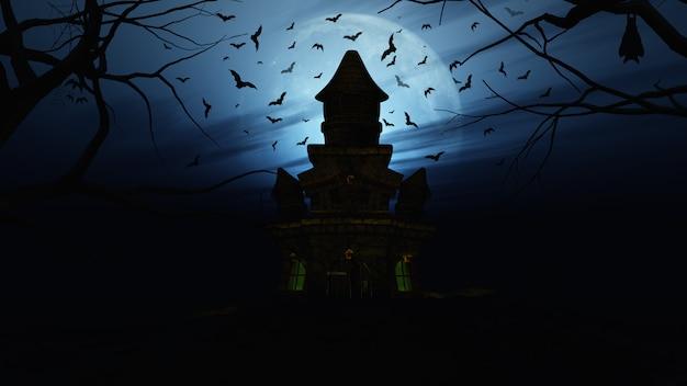 Fundo 3d de halloween com castelo assustador