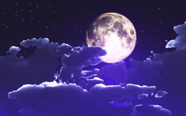 Fundo 3d de halloween com nuvens e lua