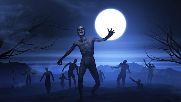 Fundo 3d de halloween com paisagem de zumbi