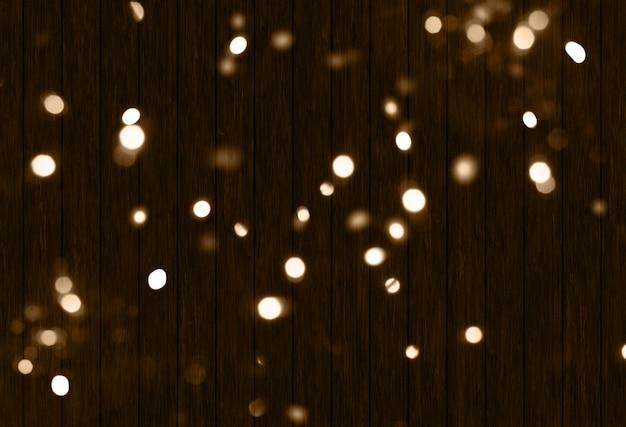 Fundo 3d de natal com luzes de bokeh na textura de madeira