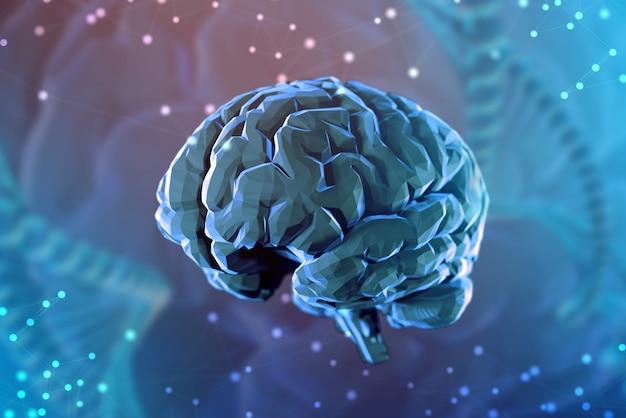 Fundo 3d do cérebro digital