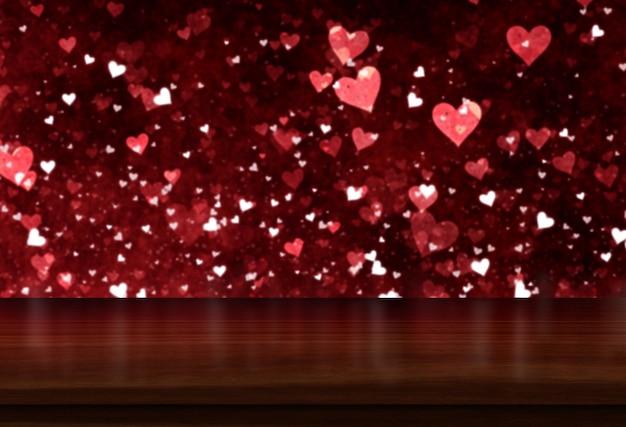 Fundo 3d do dia dos namorados com mesa de madeira, olhando para um design de luz de corações de bokeh
