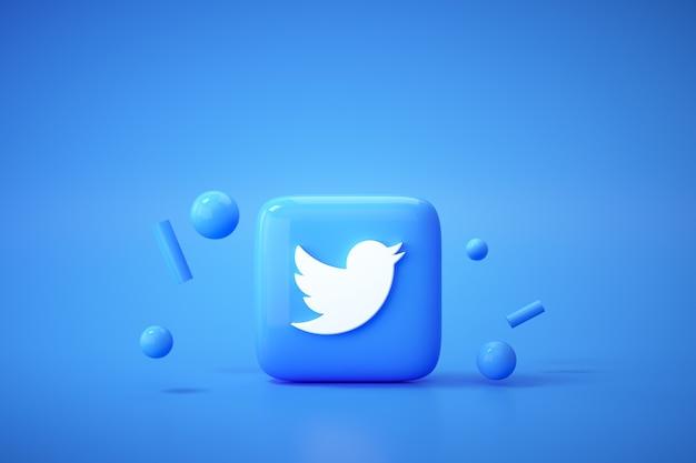 Fundo 3d do logotipo do aplicativo twitter. plataforma de mídia social do twitter.