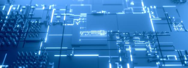Fundo 3d futurista azul de microprocessador