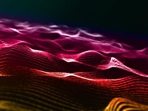 Fundo 3d moderno com design de partículas coloridas arco-íris