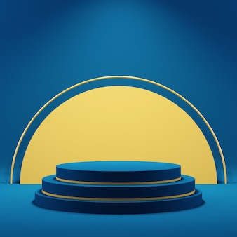Fundo 3d para simulação de pódio para apresentação de produtos, fundo azul, renderização 3d