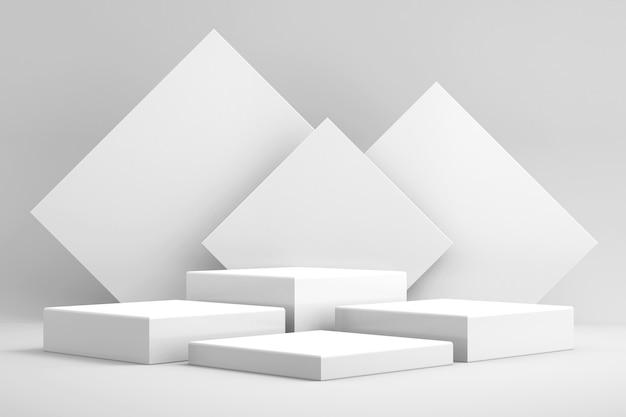 Fundo 3d para simulação de pódio para apresentação de produtos, fundo branco, renderização em 3d