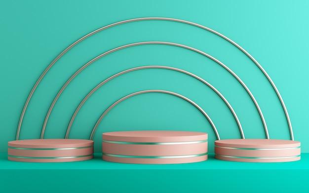 Fundo 3d para simulação de pódio para apresentação de produtos, fundo verde, renderização 3d
