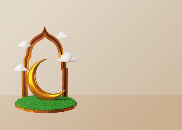 Fundo 3d ramadã e eid mubarak com lua dourada