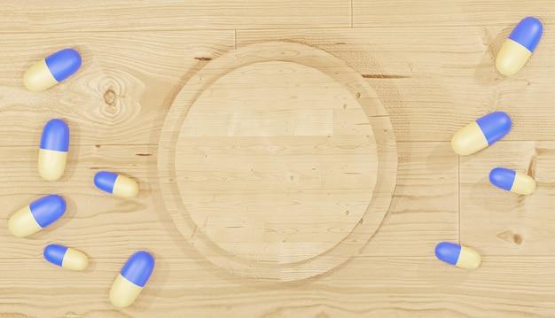 Fundo 3d renderizando comprimidos de remédios espalhados em torno de um pódio de madeira para farmácias de páginas da web