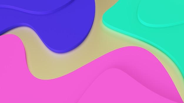 Fundo abstratas ondas geométricas de cores da moda. degraus verdes, rosa e azuis. realidade psicodélica e mundos paralelos