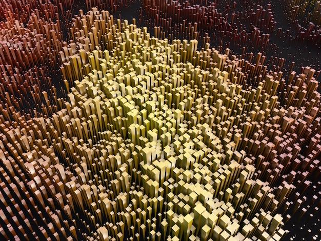 Fundo abstrato 3d com blocos de extrusão