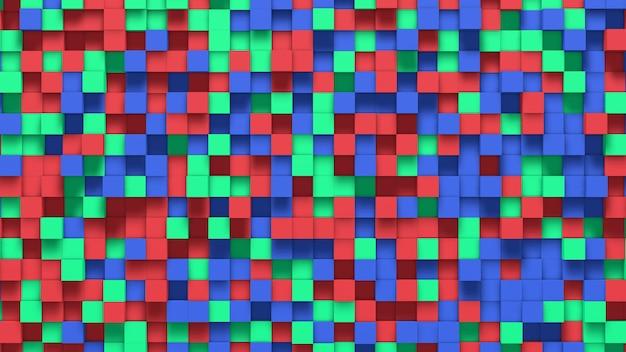 Fundo abstrato 3d com cubos verdes, vermelhos e azuis