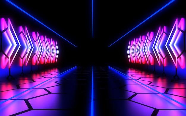 Fundo abstrato 3d com luz de néon. ilustração 3d