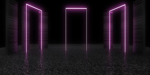Fundo abstrato 3d com luzes de néon. . construção do espaço. ilustração .3d