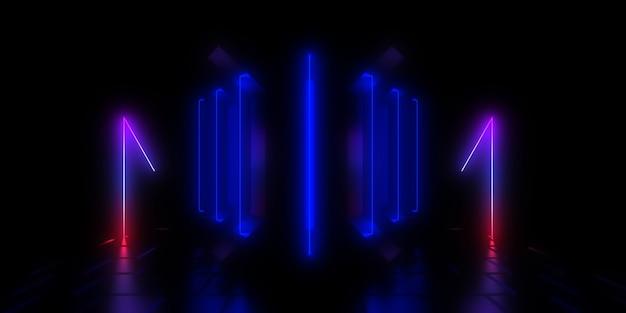 Fundo abstrato 3d com luzes de néon. ilustração 3d 3