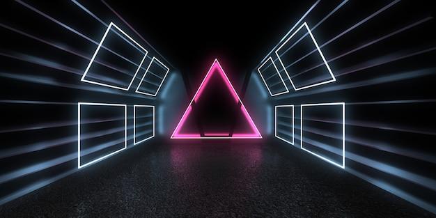 Fundo abstrato 3d com luzes de néon. ilustração 3d Foto Premium