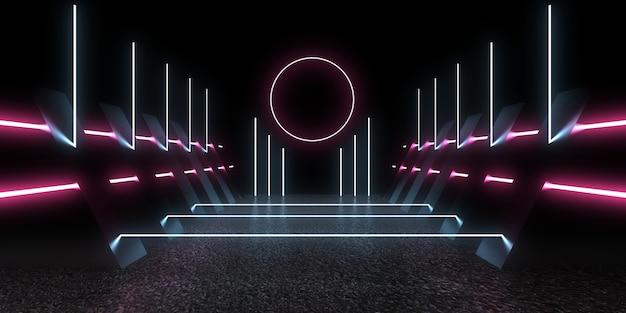 Fundo abstrato 3d com luzes de néon. ilustração 3d