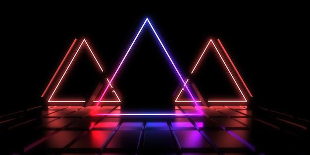 Fundo abstrato 3d com luzes de néon. l. construção do espaço. ilustração .3d