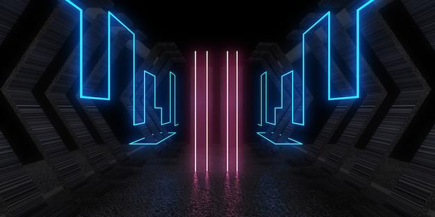 Fundo abstrato 3d com luzes de néon. túnel de néon. construção do espaço. .3d ilustração 3