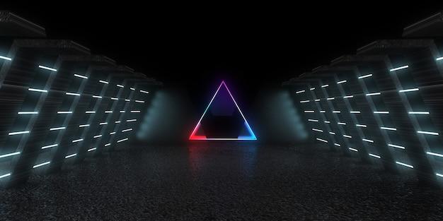 Fundo abstrato 3d com luzes de néon. túnel de néon. . construção do espaço. ilustração .3d 33