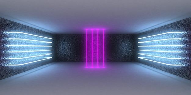 Fundo abstrato 3d com luzes de néon. túnel de néon. construção do espaço. ilustração 3d