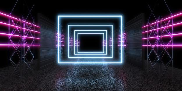 Fundo abstrato 3d com luzes de néon. túnel de néon. construção do espaço. ilustração .3d