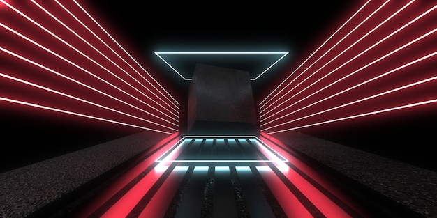 Fundo abstrato 3d com luzes de néon. túnel de néon. construção do espaço. ilustração cube.3d