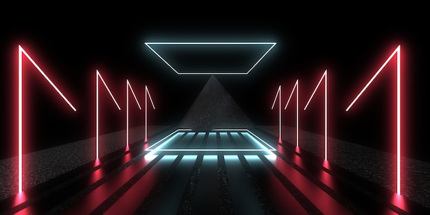 Fundo abstrato 3d com luzes de néon. túnel de néon. construção do espaço. ilustração pyramyd..3d