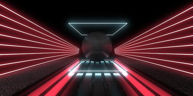 Fundo abstrato 3d com luzes de néon. túnel de néon. construção do espaço. ilustração sphere.3d