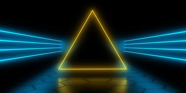 Fundo abstrato 3d com luzes de néon. túnel de néon. ilustração 3d