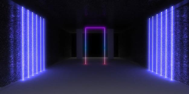 Fundo abstrato 3d com luzes de néon
